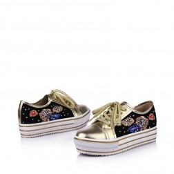 Stylish Thick Sole Jointing Lace-Up Women Sneakers