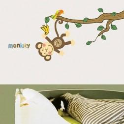 Cartoon Monkey Pattern Removable Waterproof Home Decor Wall Sticker