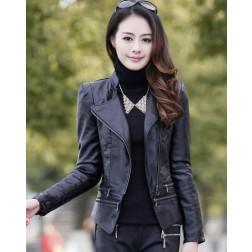 PU Leather Slim Turndown Stand Collar Long Sleeves Solid Women's Blazer
