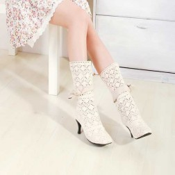 Fashionable Solid Round Toe Spool Heel Women's Boots