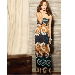 Lycra Flower Print Sleeveless Ankle Length Pleated Women's Halter Dress