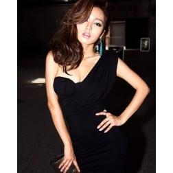 Elegant One Shoulder Built In Bra Cotton Blends Women Sexy Dress