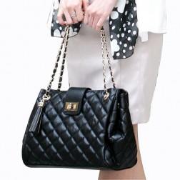 Diamond Pattern Chain Strap Tassel PU Leather Women Shoulder Bag