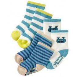 Old Navy Cartoon Alien Blue White Striped Baby Socks - 3 Pair Set