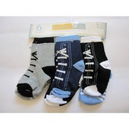 6 Pair Vitamins Baby Boy Socks Sneakers and Stripe Designs 6-12M