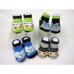 4 Pair Planet Sox Baby Booties Animal Socks 0-6M