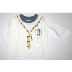 GAP Infant Boy White Long Sleeve Shirt with Necktie and Eyeglass Design