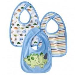 Gerber 3pc Infant Bib Set Blue with Dinosaur Design