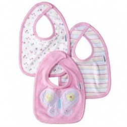 Gerber 3pc Infant Bib Set Pink with Butterfly Designs