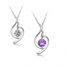 Elegant Perfect Cut Crystal Pendant Necklace 925 Sterling Silver
