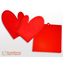 Protect Your Hands and Your Counter Tops from Burns with this Silicone Oven Mitts AND Flatmat Set