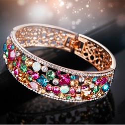 18K Rose Gold Plated Multicolor Crystals Bangle