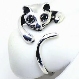 Cute Sterling Silver Cat Shaped Women Ring