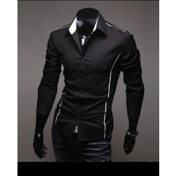 Slim Fitting Single Breasted Long Sleeve Lapel Mens Casual Shirt