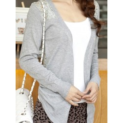 Sheer Back Jointing Women's Cotton Cardigan Sweater Long Sleeve